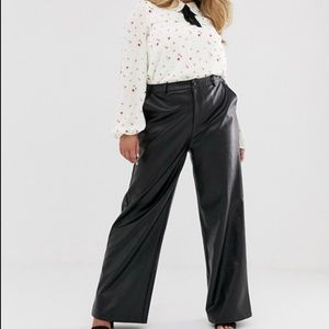 Vintage 100% Leather High Waisted Straight Trouser